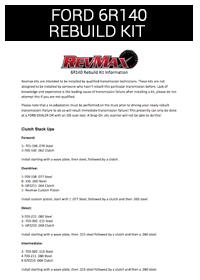 Ford 6R140 Rebuild Kit Instructions